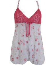 White And Pink Chiffon And Lace Babydoll