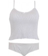 White Two Tone Sheer Camisole Set