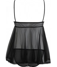 Black Chiffon Sheer Love Heart Babydoll