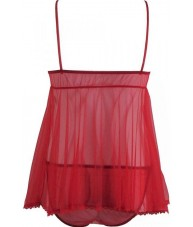 Red Chiffon Sheer Love Heart Babydoll