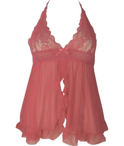 Elegant Pink Lace Babydoll with Razorback