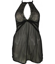 Sexy Black Chiffon Babydoll with Tie Up Neck