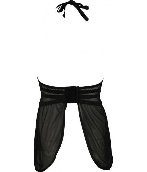 Sexy Black Chiffon Babydoll with Tie Up Neck
