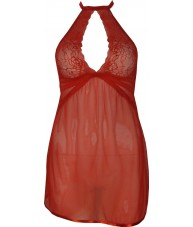 Sexy Red Chiffon Babydoll with Tie Up Neck