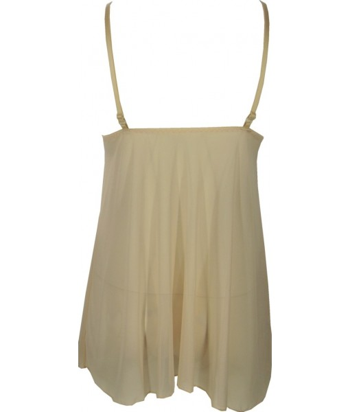 Beige Babydoll Chiffon With Embroidery Over Bust