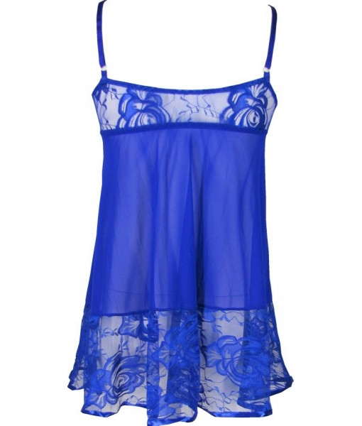 Blue Babydoll Sexy Sheer Lace Lingerie With Satin Trim