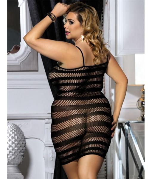 Black Medium Weave Fishnet Dress