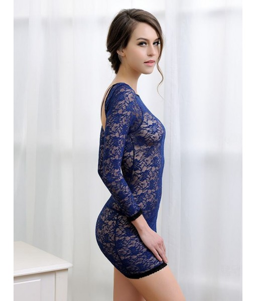 Blue Stretch Lace Bodystocking with Open Back