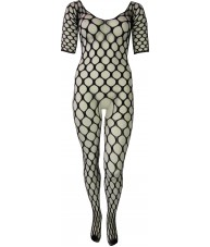 Black Bodystocking Full Length Circle Weave