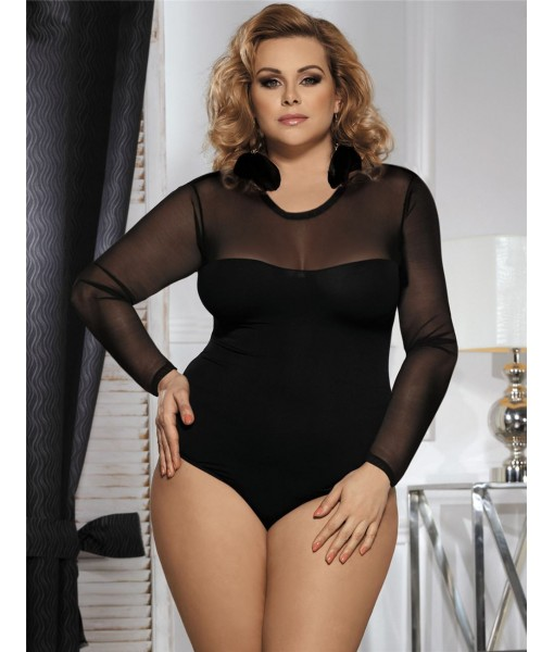 Black Bodysuit with Sheer Top and Sleeves