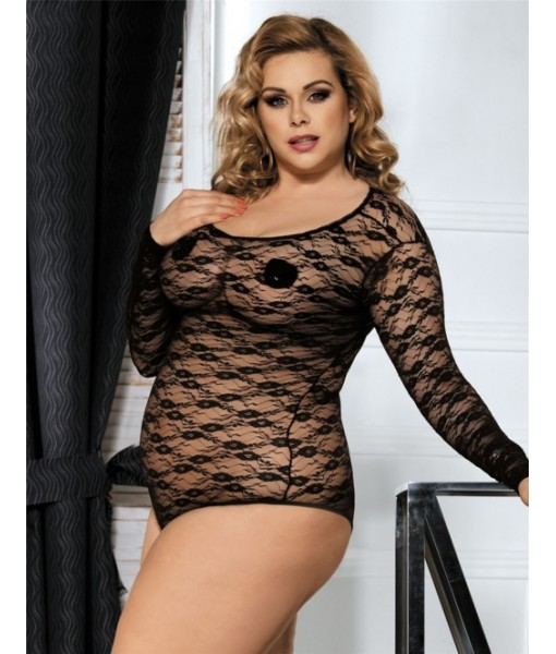 Black Floral Stretch Lace Bodysuit with Full Sleeves
