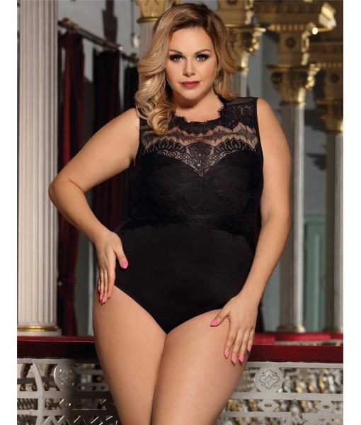 Black Bodysuit Sleeveless With Lace Overlay