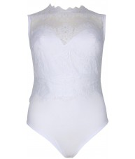 White Bodysuit Sleeveless With Lace Overlay