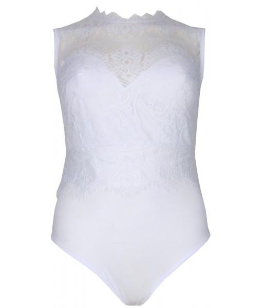 White Bodysuit Sleeveless With Lace Overlay