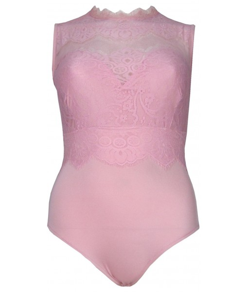 Pink Bodysuit Sleeveless With Lace Overlay