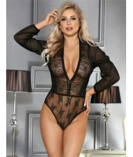 Black Bodysuit Plunging Sheer Lace Full Sleeve
