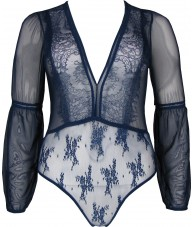 Blue Bodysuit Plunging Sheer Lace Full Sleeve