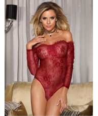 Red Stretch Lace Intricate Bodysuit Teddy