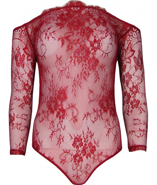 Red Stretch Lace Intricate Bodysuit Teddy
