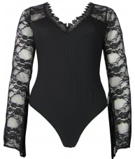 Black Bodysuit with Lace Horn Sleeves