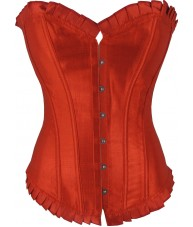 Long Red Satin Corset With Ruffled Trim
