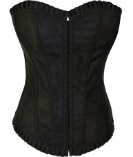 Black Satin Corset With Ruffled Trim