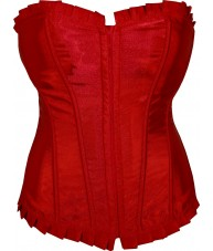 Red Satin Corset With Ruffled Trim