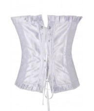 Long White Satin Corset With Ruffled Trim