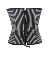 Black And White Striped Satin Corset