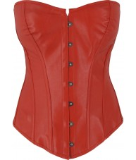 Dark Red Faux Leather Corset