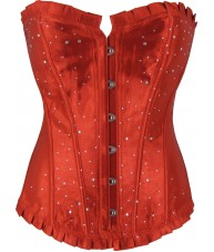 Red Satin Corset With Rhinestones