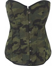 Green Army Camouflage Corset With Black Trim