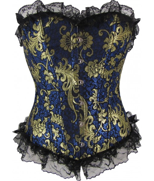 Gold And Navy Floral Brocade Corset