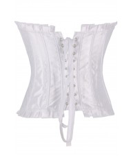 White Satin Corset With Ruffled Trim