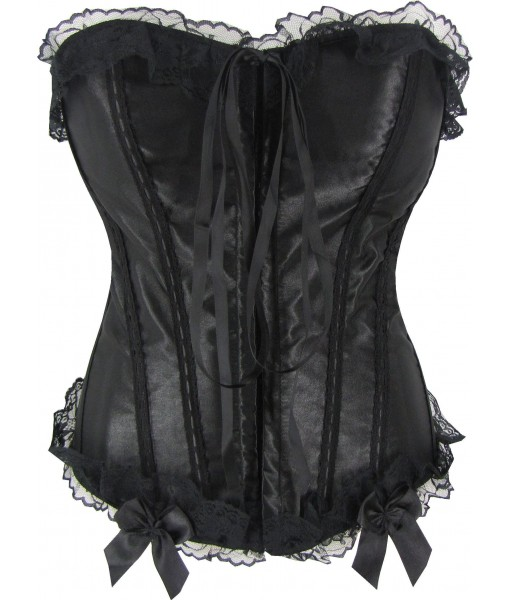 Black Satin Corset With Lace Trim, Bows And Tie At Front
