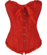 Red Floral Brocade Corset With Satin Trim