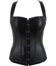 Black Faux Leather Corset With Straps