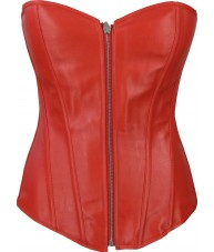 Red Faux Leather Zipper Corset