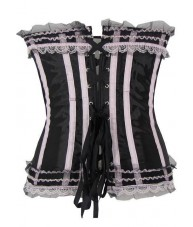 Black Satin Corset With Pink Lace Frills