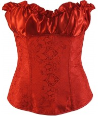 Ruffled Overbust Red Corset