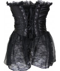 Black Corset With Lace Extensions Over Hips