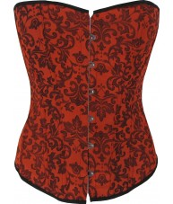 Red Jacquard Corset With Black Trim