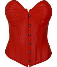 Red Faux Leather Corset Sweetheart Cut