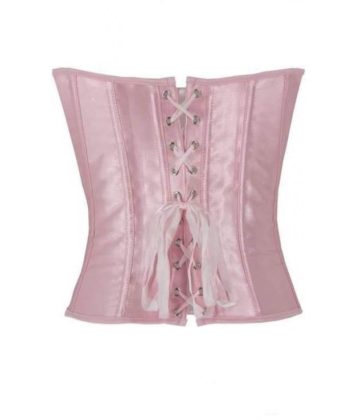 969b3bcd32 Elegant Long Baby Pink Satin Corset