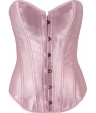 Elegant Long Baby Pink Satin Corset