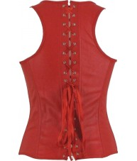 Red Faux Leather Corset With Straps