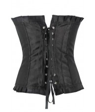 Long Black Satin Corset With Ruffled Trim