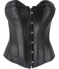 Black Faux Leather Corset Sweet Heart Cut