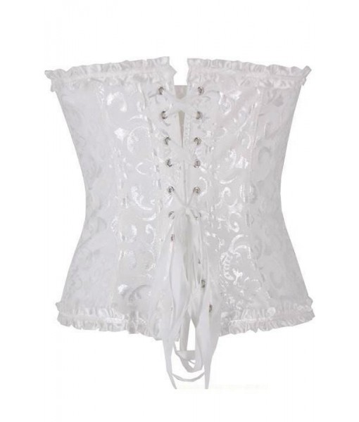 White Floral Brocade Corset With Satin Trim