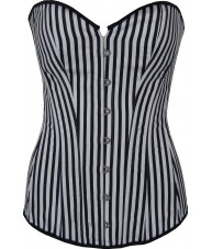 Long Black And White Striped Corset
